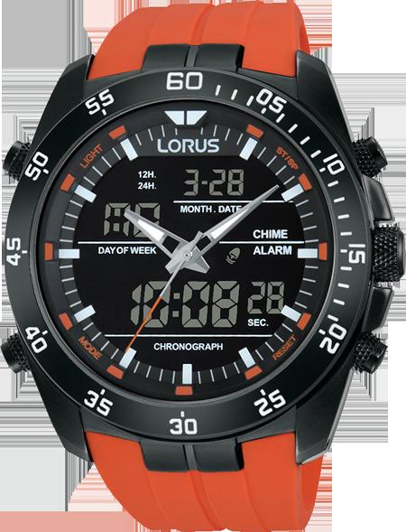 mens orange analogue and digtial lorus watch chr watches mens orange analogue and digtial lorus watch